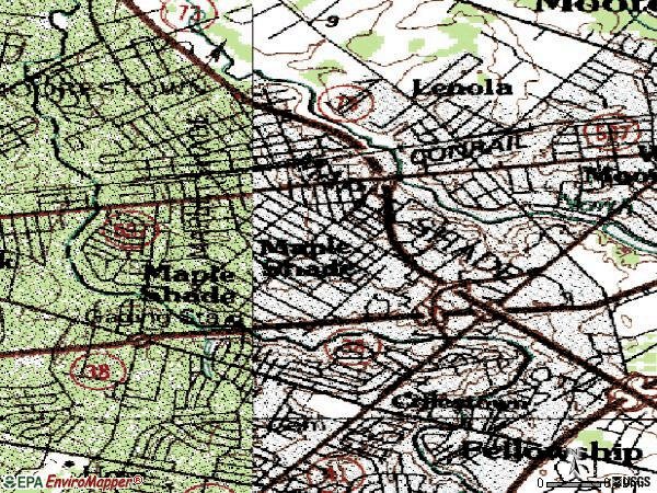Zip code 08052 topographic map