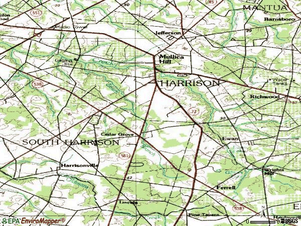 Zip code 08062 topographic map