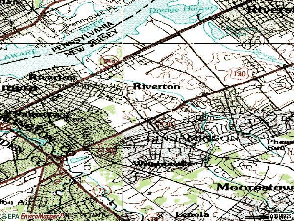Zip code 08077 topographic map