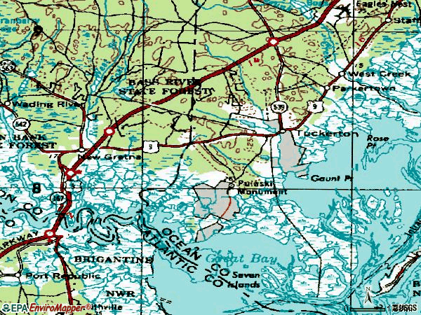 Zip code 08087 topographic map