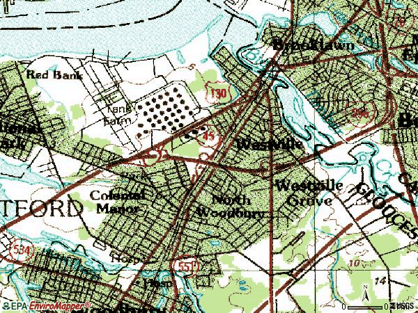 Zip code 08093 topographic map