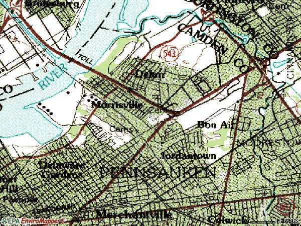 Zip code 08110 topographic map