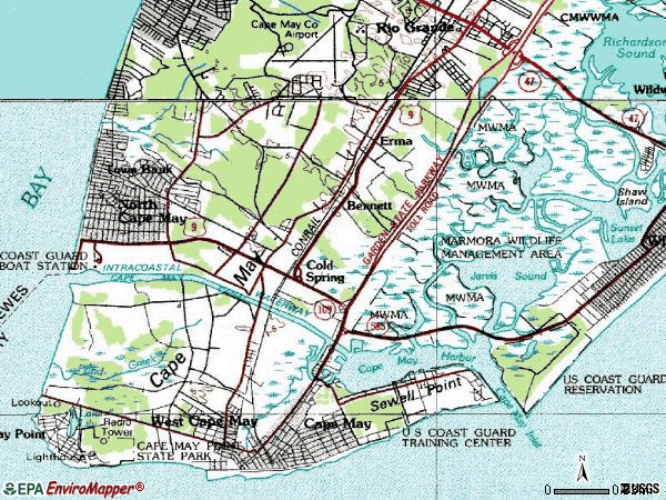 Zip code 08204 topographic map