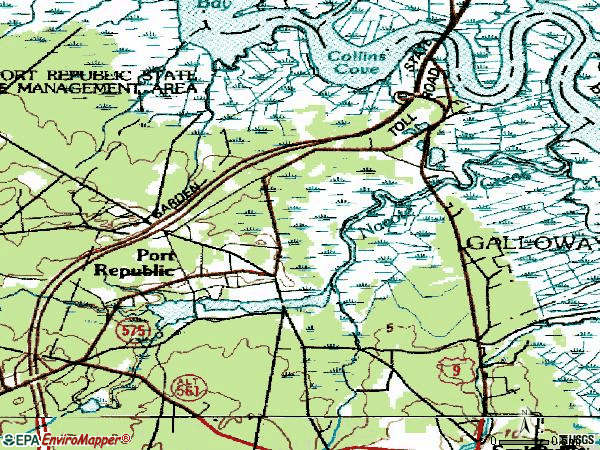 Zip code 08241 topographic map