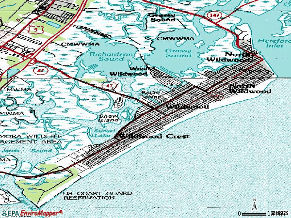 Zip code 08260 topographic map