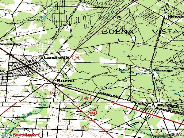 Zip code 08310 topographic map