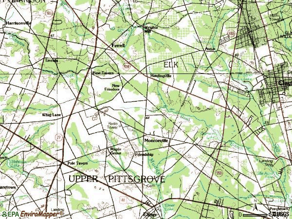 Zip code 08343 topographic map