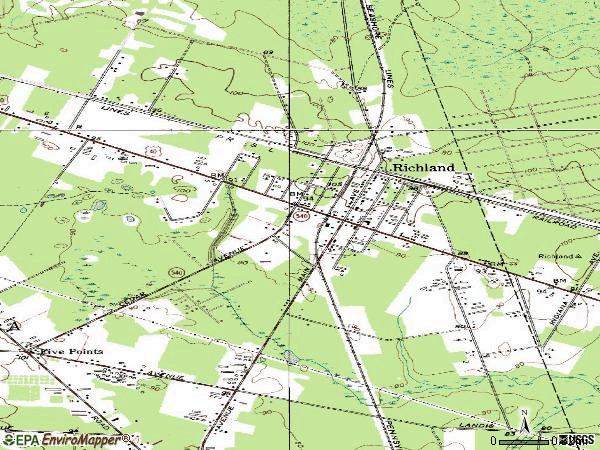 Zip code 08350 topographic map