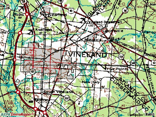 Zip code 08360 topographic map