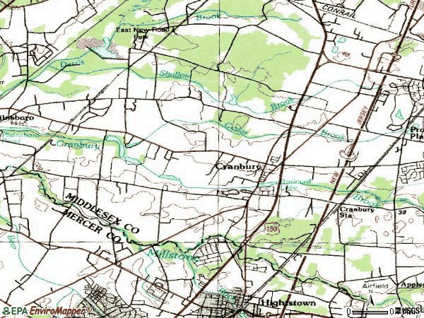 Zip code 08512 topographic map