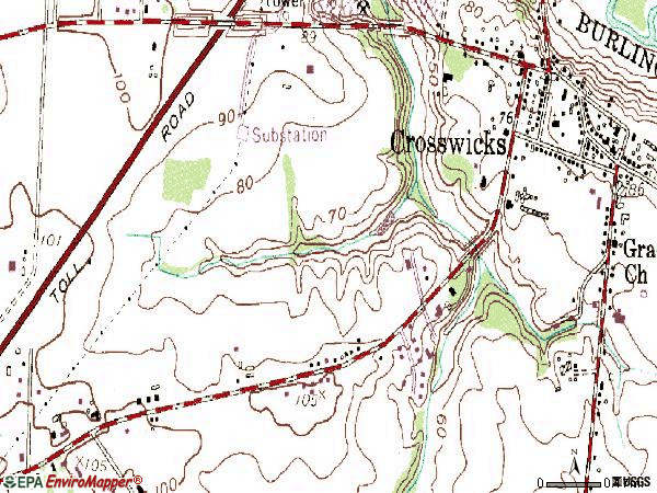 Zip code 08515 topographic map