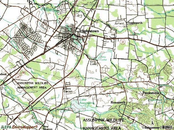Zip code 08520 topographic map