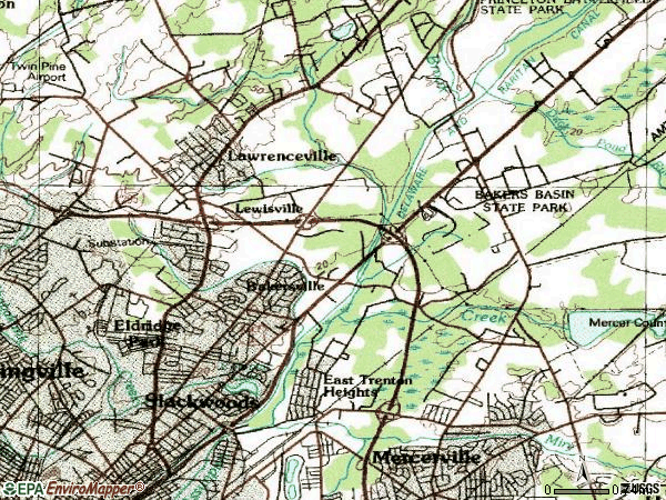 Zip code 08648 topographic map