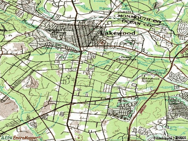 Zip code 08701 topographic map
