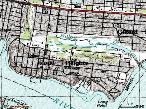 Zip code 08732 topographic map