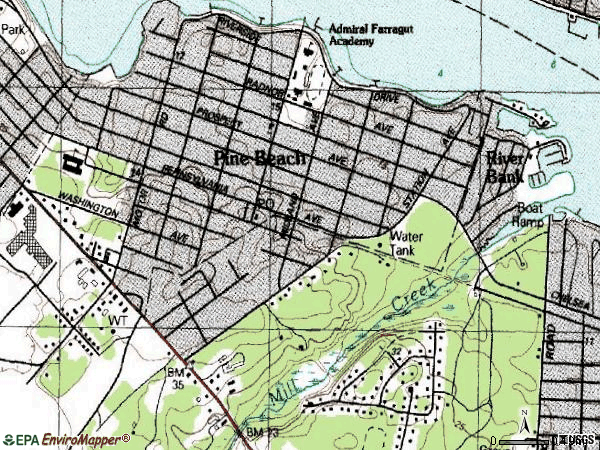 Zip code 08741 topographic map