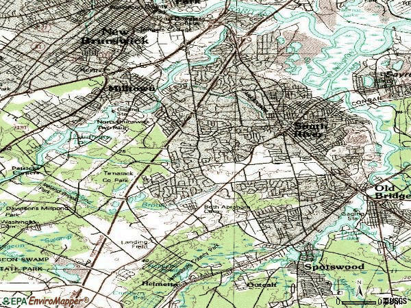 Zip code 08816 topographic map