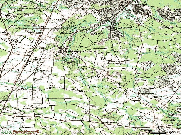 Zip code 08831 topographic map