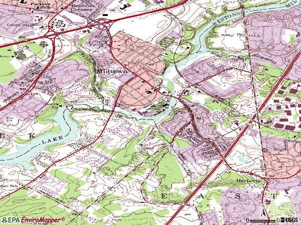 Zip code 08850 topographic map