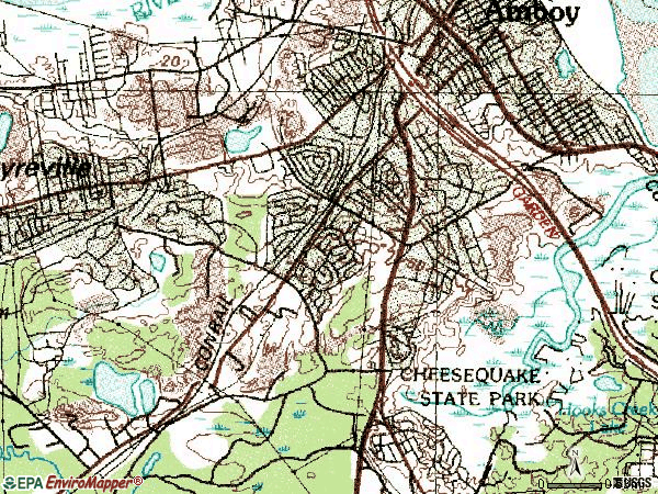 Zip code 08859 topographic map