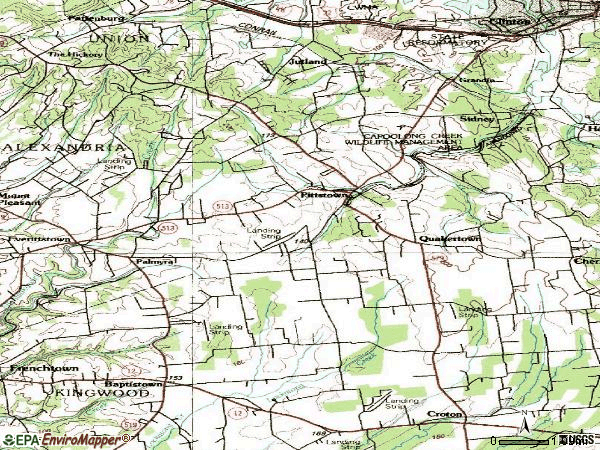 Zip code 08867 topographic map