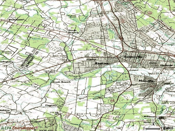 Zip code 08876 topographic map