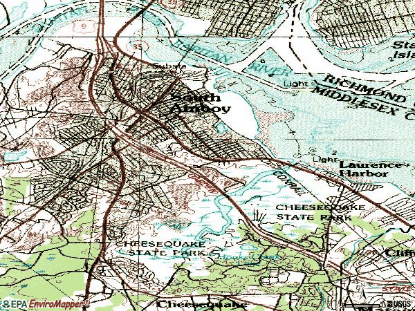 Zip code 08879 topographic map