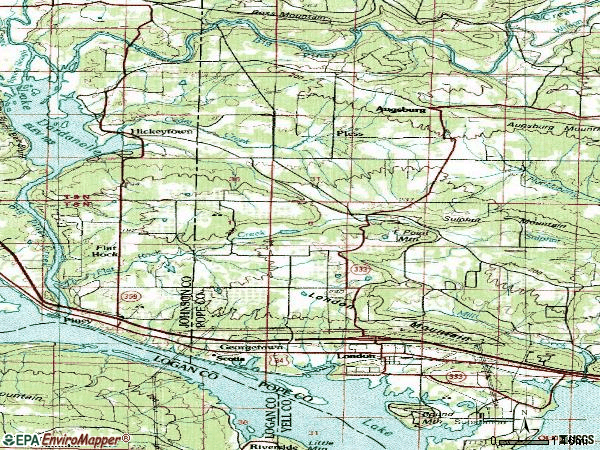 Zip code 72847 topographic map