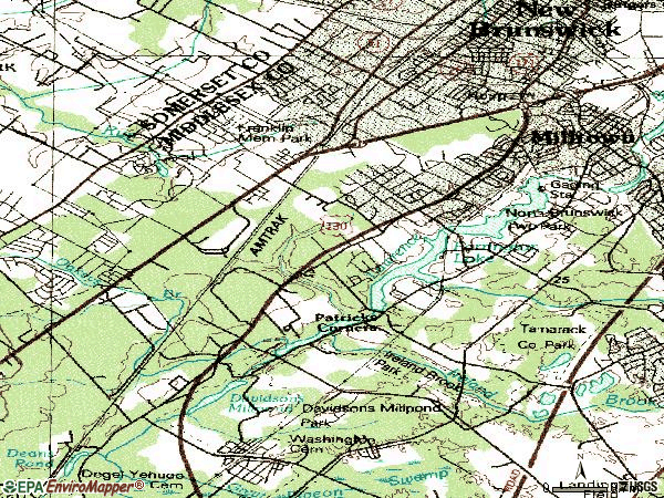 Zip code 08902 topographic map