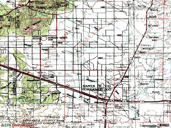 Zip code 87015 topographic map