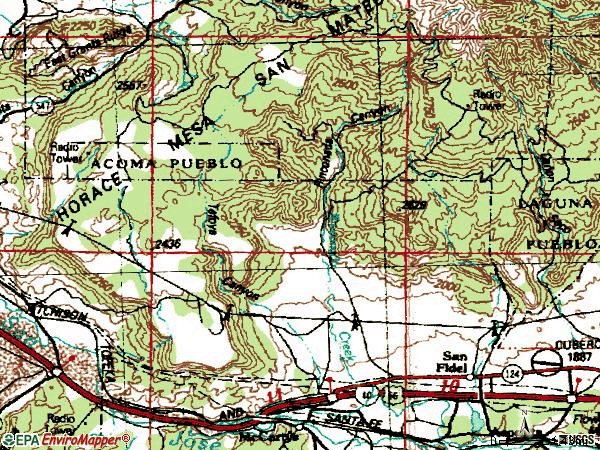 Zip code 87049 topographic map