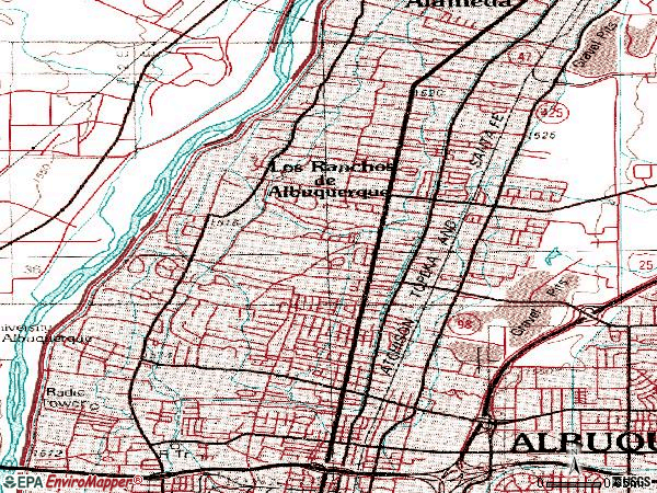 Zip code 87107 topographic map
