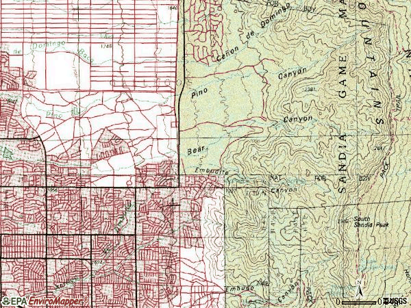 Zip code 87111 topographic map
