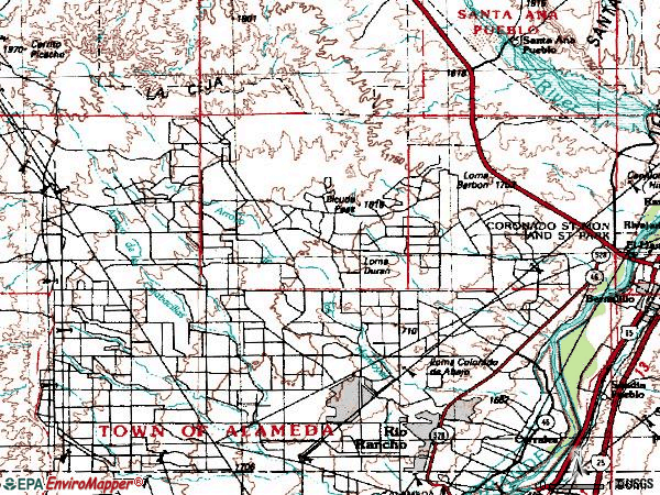 Zip code 87124 topographic map