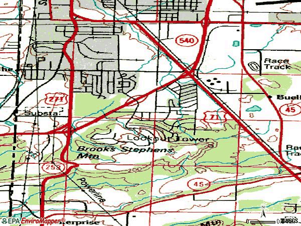 Zip code 72908 topographic map