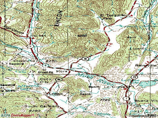 Zip code 87732 topographic map