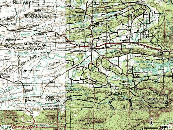 Zip code 72927 topographic map