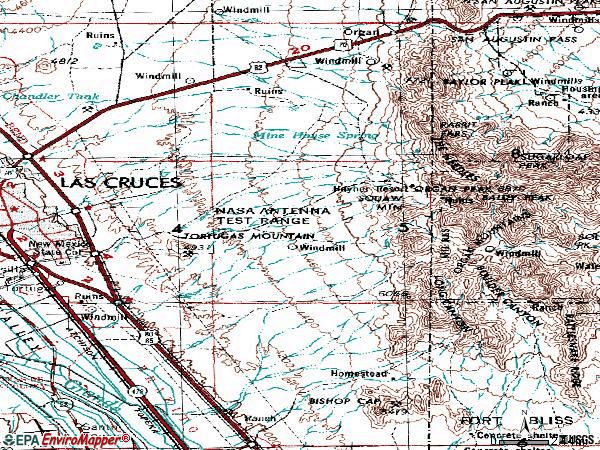 Zip code 88011 topographic map