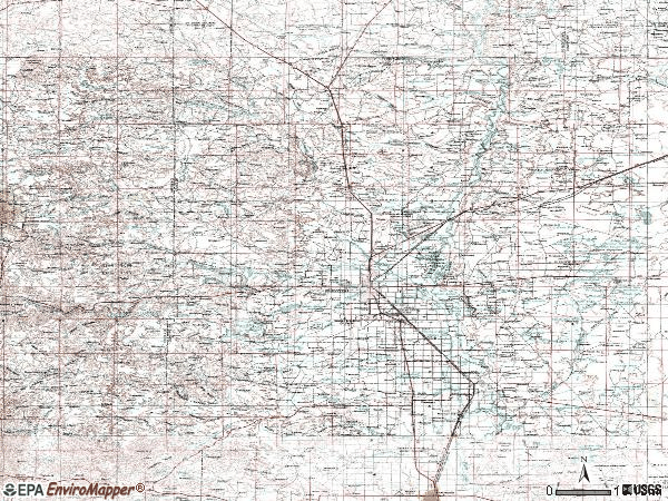 Zip code 88201 topographic map