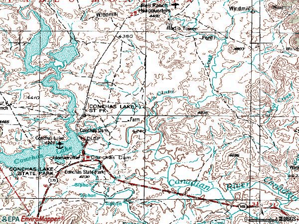 Zip code 88417 topographic map