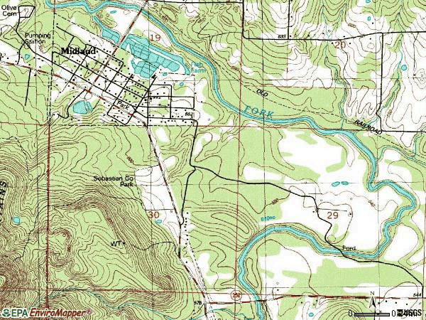 Zip code 72945 topographic map