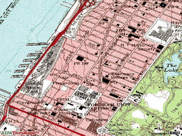 Zip code 10023 topographic map