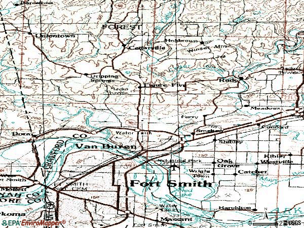 Zip code 72956 topographic map
