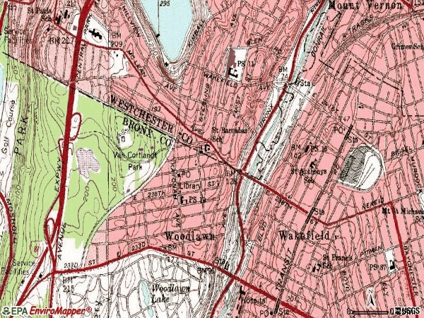 Zip code 10470 topographic map
