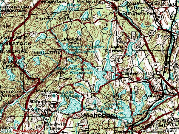 Zip code 10512 topographic map