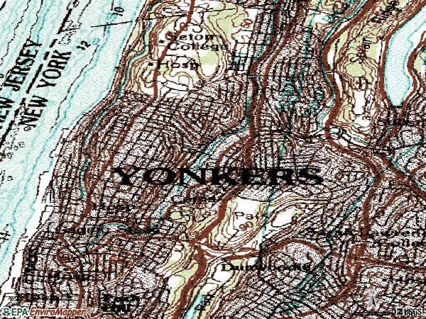 Zip code 10701 topographic map