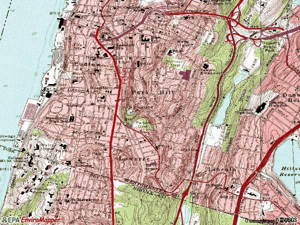 Zip code 10705 topographic map