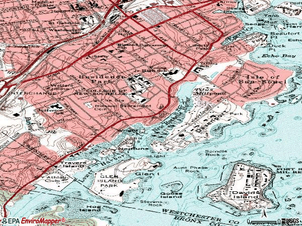 Zip code 10805 topographic map
