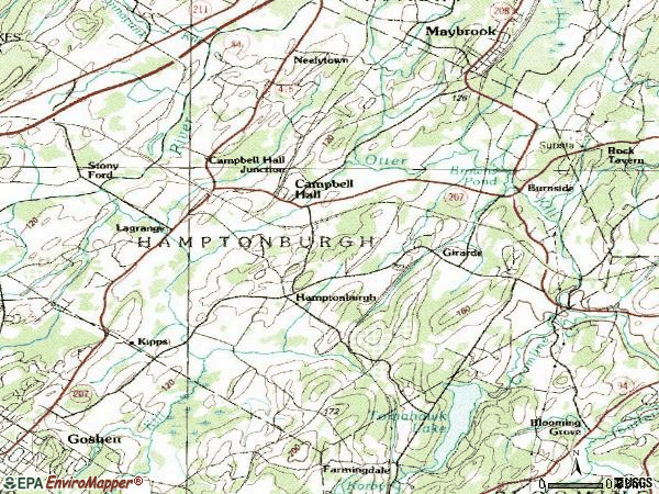 Zip code 10916 topographic map