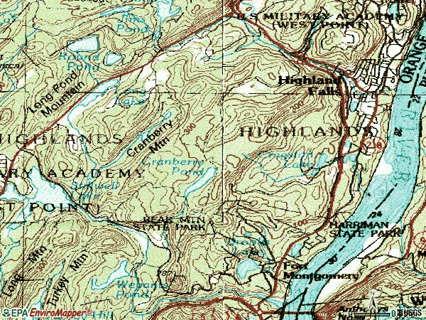 Zip code 10928 topographic map